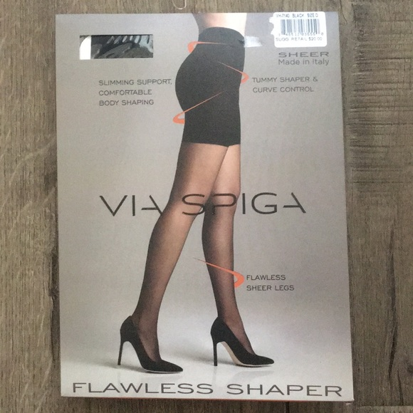 352515e6ee2 Black Sheer Tights. NWT. Via Spiga